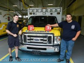 East Whiteland Fire Company EMS Captain Kevin McCarthy (L) and EMS Lieutenant Quintin Lotz (R) display the new AED units that have been placed on all East Whiteland Fire apparatus vehicles and inside our fire station.