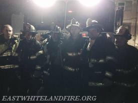 "East Whiteland Fire Company primary attack crew on this call (L to R): FF Lieutenant Dan Sheridan, Career FF Brian Hughes, FF Paul ""Tripp"" Brown, FF Kyle O'Brien, FF EMS Lieutenant Quintin Lotz, and FF Lieutenant John DeMarco."