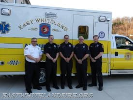 After receiving the unit citation next to Ambulance 5-2 (L to R) Chief John DeMarco, Career FF/EMT John Porter, Captain Dan Sheridan, Career FF/EMT Tom Renfroe, and Career Captain Loren Nafziger.
