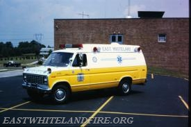 The East Whiteland Fire Company received their first Ford ambulance in 1979 as seen here behind the East Whiteland Firehouse on Planebrook Road.