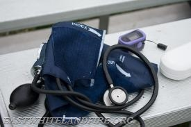 Some of the equipment used by our EMS professionals. From Left to right: Sphygmomanometer, Stethoscope and Oximeter.