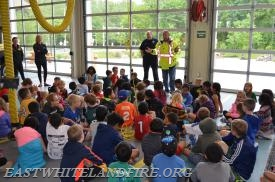 Fire Company Vice President and Fire Police Captain Tommy Cockerham giving safety tips to the students.