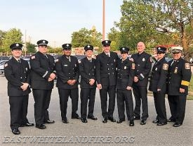 (L to R) FF/EMT Mike Pisano, FF/EMS Captain Quintin Lotz, FF/EMT/Engineer Beenay Patel, FF Keith Brabec, FF Gary McCusker, FF Jake Wilson, FF/Career Captain Mike Risell, FF Bozena Rolla, Fire Chief John DeMarco.