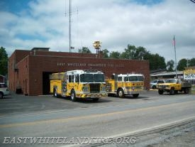 The former building upon arrival of our new Marion engine in 2014 next to our 1969 Hahn. There were only inches for the newer apparatus to clear the doors.
