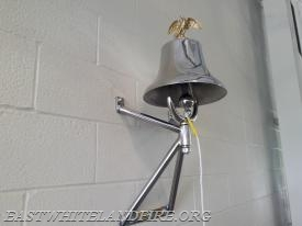 The American LaFrance bell is now mounted on the wall of the engine room in our new station.