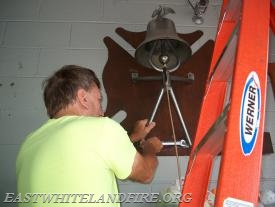 The bell was carefully removed from our old building and sent out to be re-chromed.