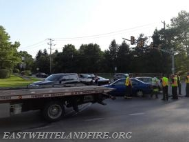 Traffic accident at Route 401 and Phoenixville Pike in East Whiteland Township.