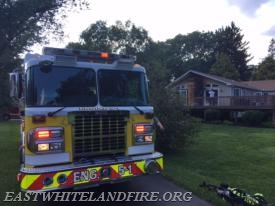 Engine 5-1 at the scene of a house fire in West Goshen.