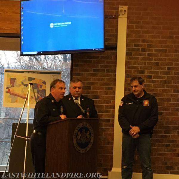 Left to Right: Deputy Director of Life safety Matt Fink, East Whiteland Fire Company Fire Chief John DeMarco, Battalion Chief Chris Strauss