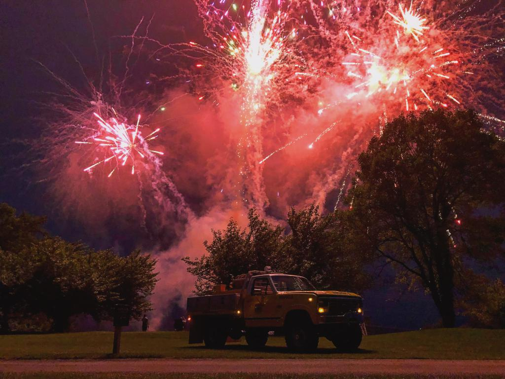 Brush 5 under a fireworks display. Photo courtesy of Kevin Skymba.