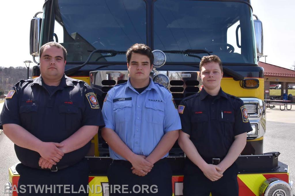 Pictured: EMS Captain Quintin Lotz, FF/EMT Tommy Flynn, Cadet Dalton Lotz