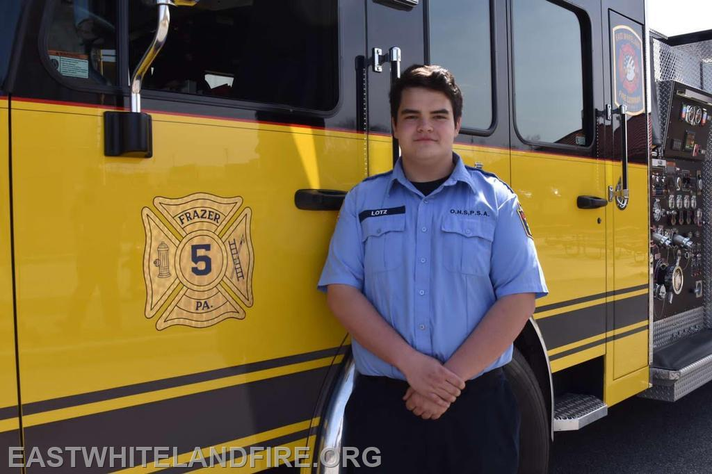 Cadet Dalton Lotz pictured standing in front of Rescue 5.