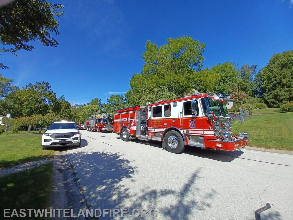 Rescue 61 and Ladder 65 at the residential fire in East Pikeland Township