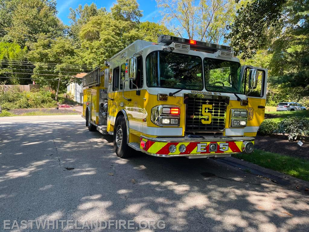 Engine 5 standing by at the hydrant at the residential fire in East Pikeland Township